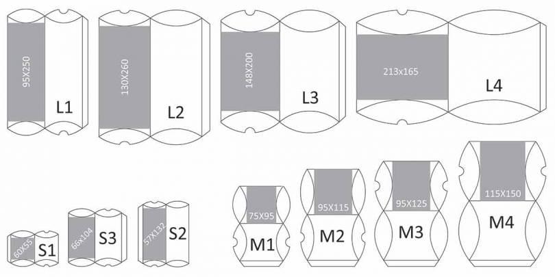 Pregled dimenzija svih modela pillow box kutija u standardnoj ponudi
