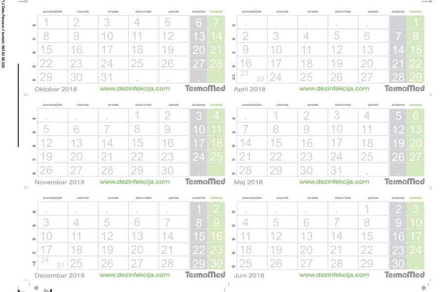 Termomed - kalendar za 2018. (prednja strana, planer, demo)