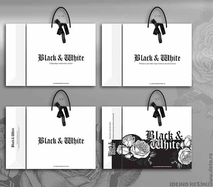 kesa XL sa mašnom od ripsa / black & white (idejno rešenje - v2)