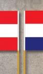 Zastavicee, sa jedne strane Hrvatska, a sa druge strane Austrija