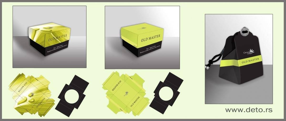 "idejno rešenje na zahtev kupca, promo kutija za kremu i kutija za body butter, firma ""Orangmalu"" - linija OLD MASTER"