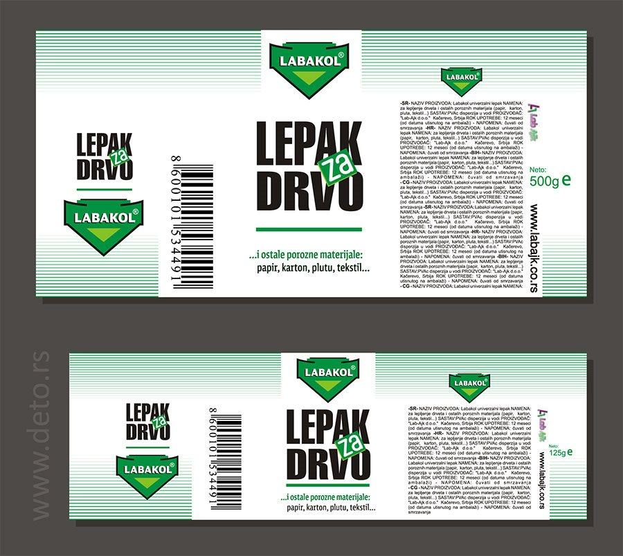 """samolepljive etikete za lepak """"Labakol"""", klijent Lab-Ajk, Kačarevo"""