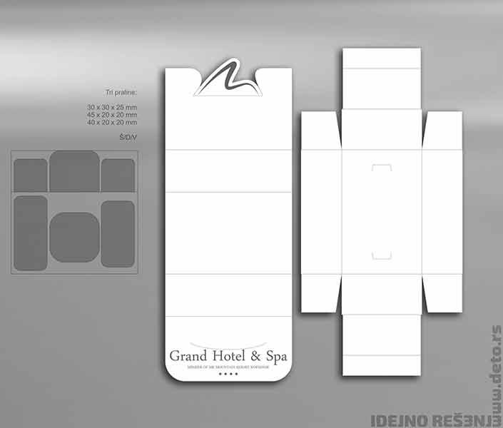 Idejno rešenje, originalna kutija za praline sa štancovanim logom hotela / Grand Hotel & Spa