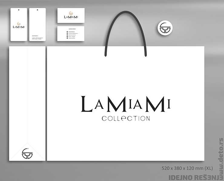 """Idejno rešenje """"LaMiaMi"""" /reklamne kese,  vizit karte, etikete i nalepnice"""
