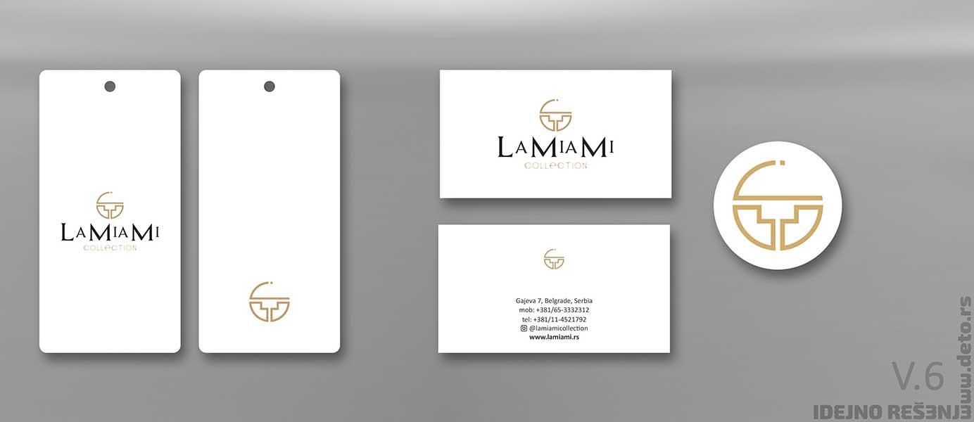 """Idejno rešenje """"LaMiaMi"""" / vizit karte, etikete i nalepnice"""