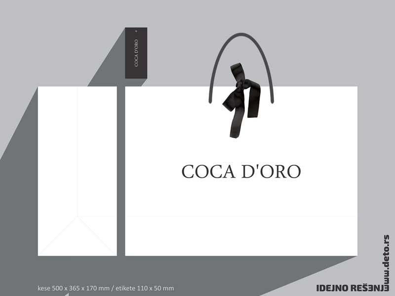 Coca'D'Oro / luksuzna reklamna kesa + etiketa za konfekciju