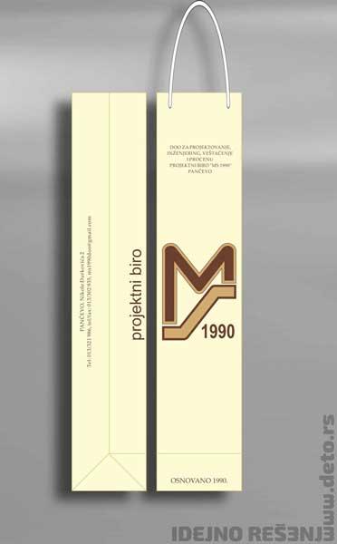 MS Biro - reklamna kesa za flašu u tri boje