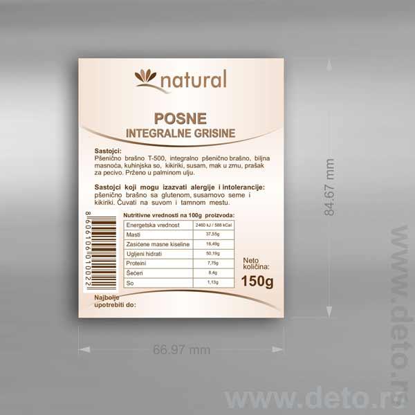 Samolepljiva etiketa (nalepnica) idejno rešenje / Natural