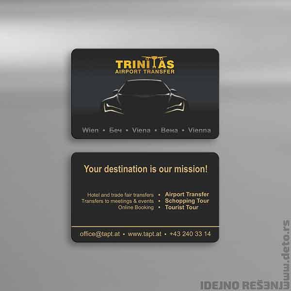 Idejno rešenje luksuznih  vizit karti sa zlatotiskom i blindrukom / Trinitas, Wiena (Austija)