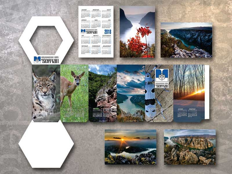 Nacionalni park Djerdap - šestougaona kutija + džepni kalendardi, demo