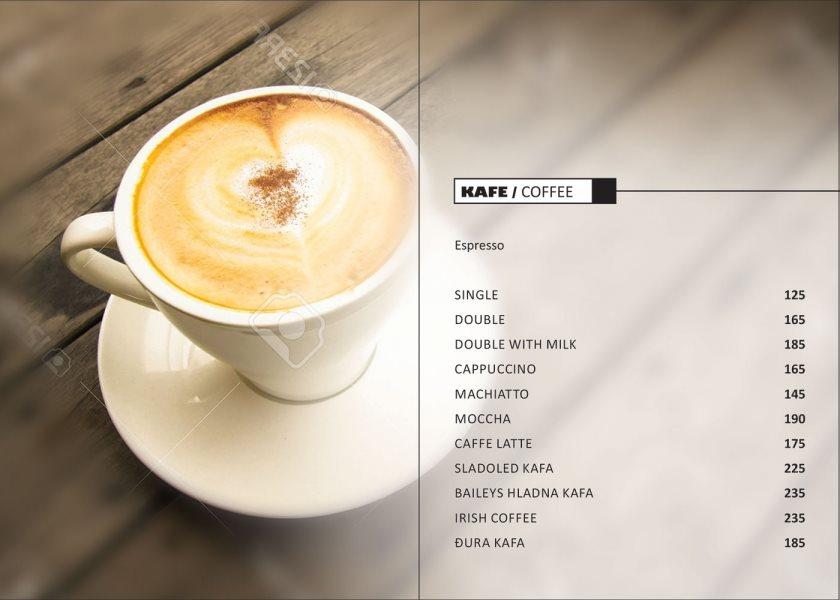 Kafe bar Đura / cenovnik kafa