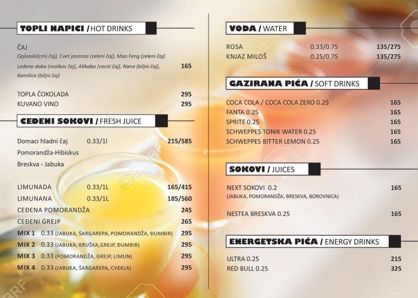 Kafe bar Đura / cenovnik sokovi