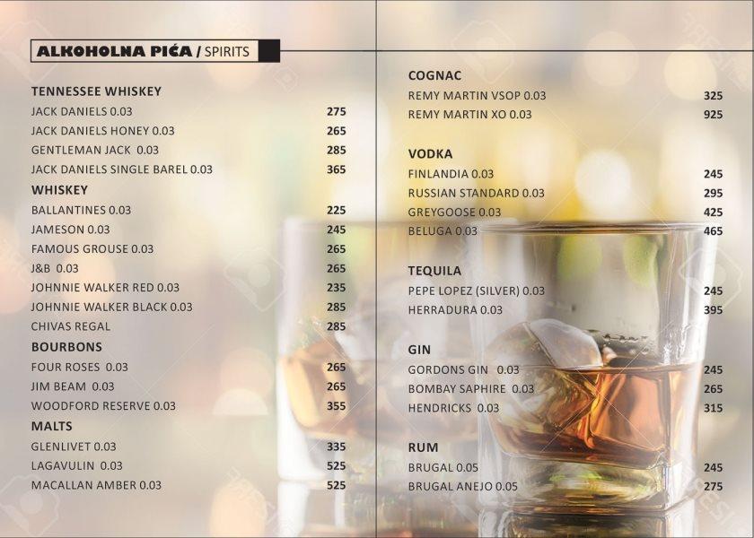 Kafe bar Đura / cenovnik