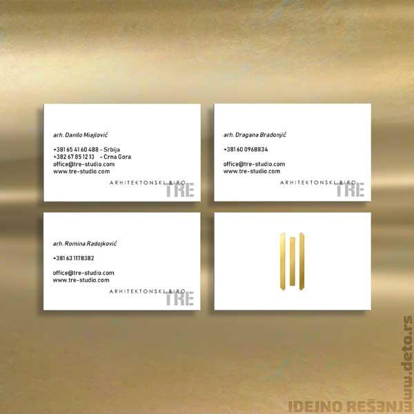 Arhitektonski studio TRE / vizt karte sa zlatotiskom