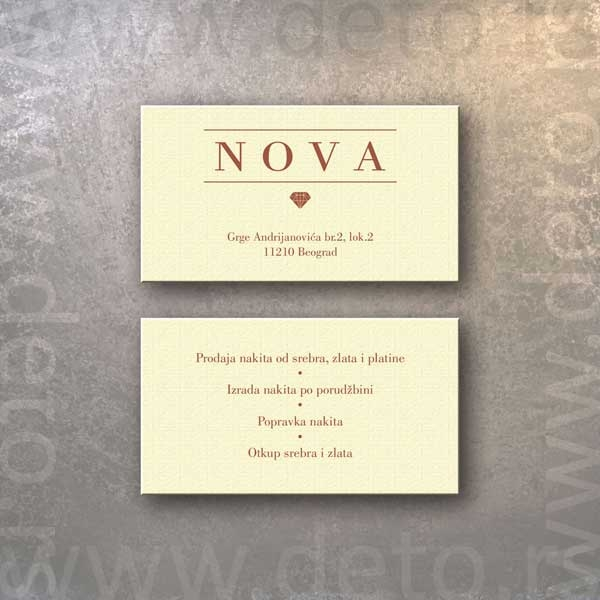 Zlatara Nova - vizit karte, fabriano crema + zlatna štampa