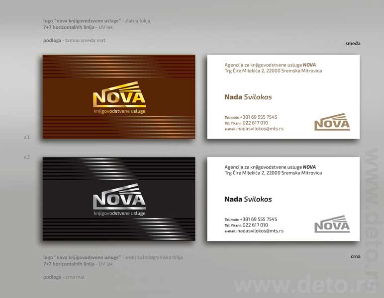 Vizit karte (kombinacija zlatotiska i UV laka) / Nova