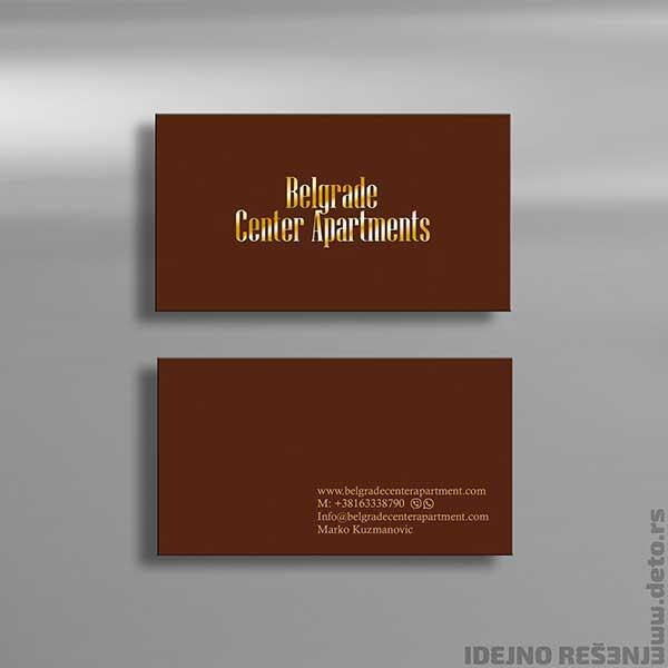 """Idejno rešenje """"Belgrade Center Apartments"""" / vizit karte (sa zlatotiskom)"""