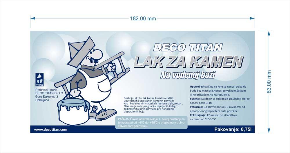 """Deco Titan / etikete """"lak za kamen"""" (demo)"""