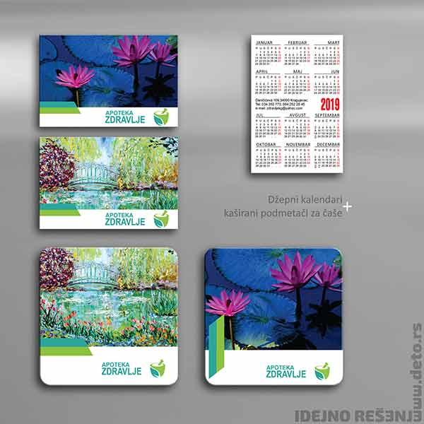 Idejno rešenje, podmetači , džepni kalendar / Apoteka Zdravlje