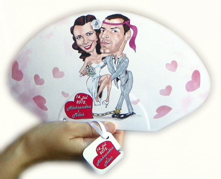 lepeze za venčanje, sa karikaturom