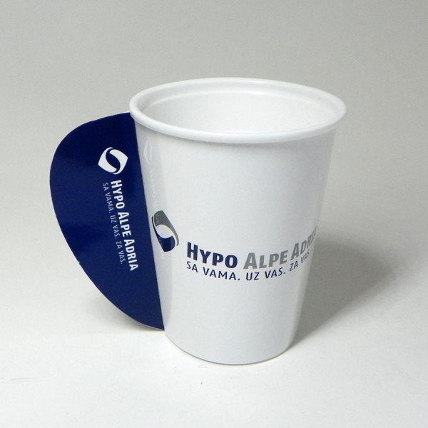"Papirne čaše (omoti za standardne PE čaše) - ""Hypo Alpe Adria"" - sa otvorenom ručkom, poleđina"
