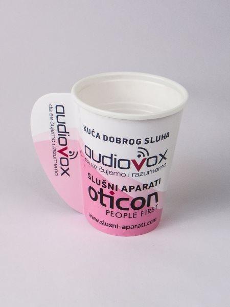 """Papirne čaše (omoti za standardne PE čaše) - """"Audiovox"""" - sa otvorenom ručkom"""