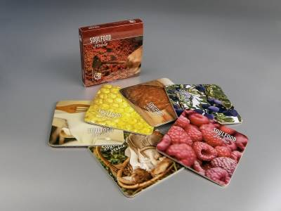 """kaširani kvadratni podmetači sa kutijom """"Soul-food"""""""