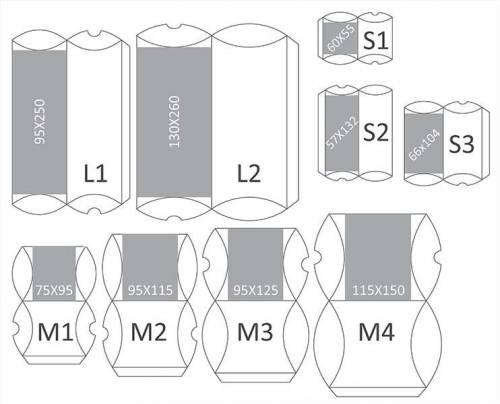 pregled dimenzija i modela pillow-box kutijica za nakit