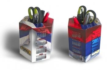 stoni kalendar - šestougaona kutija za olovke