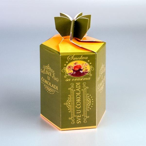 """Smokva 2 - šestougaona kutija za čokoladirano voće """"Filgold"""", Crna Gora"""
