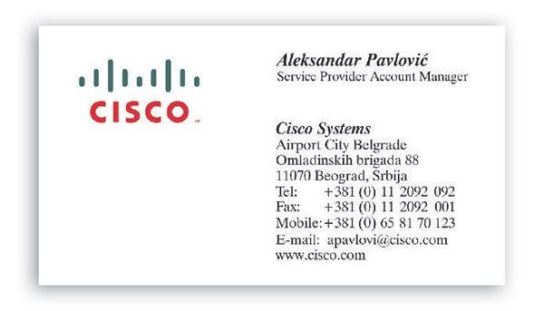 vizit karte / blindruk / Cisko