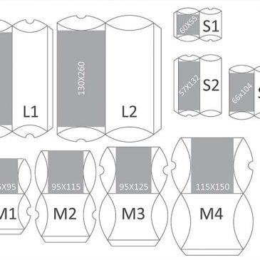 Grafički prikaz svih modela pillow-box kutijica za nakit