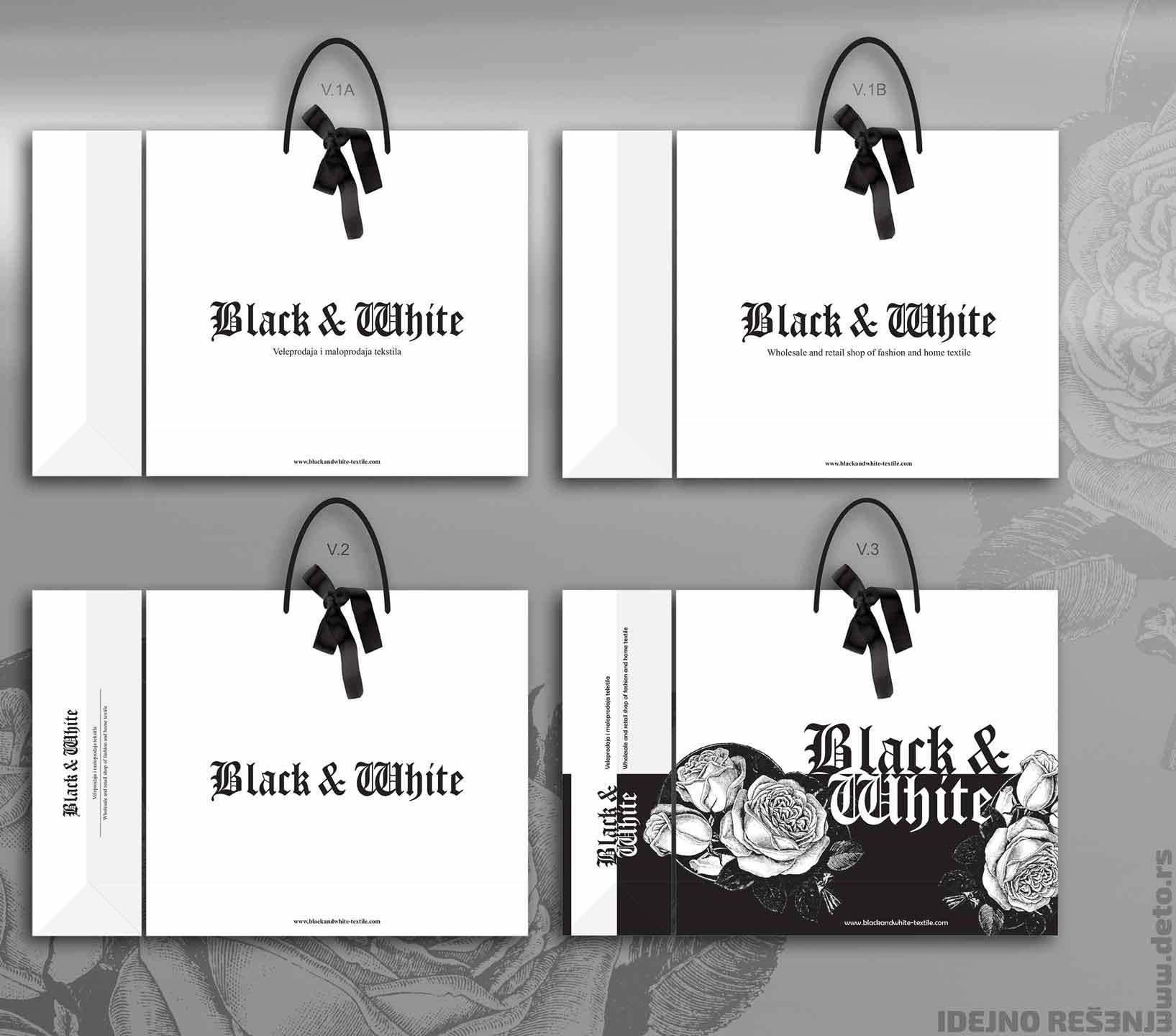 Dizajn - Luksuzna kesa sa dekorativnom mašnom (2D) / Black & White