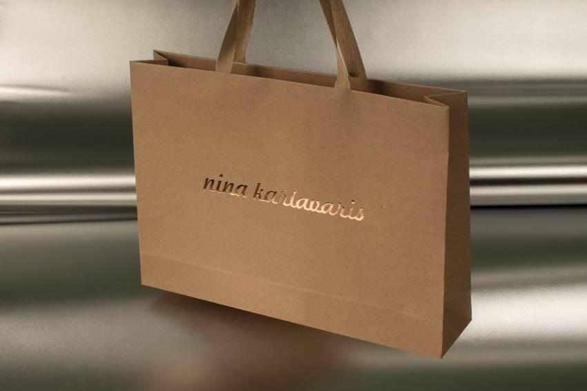 Eko kesa od recikliranog papira sa ručkama od kepera i zlatotiskom / Nina Kalvaris -1