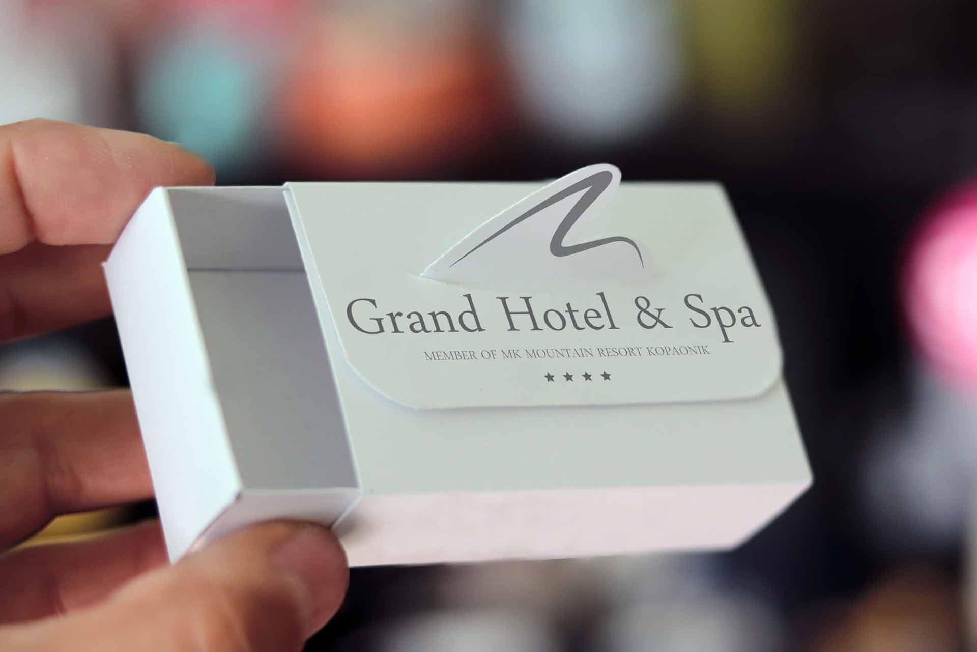 Dizajn - originalno rešenje kutijice  sa štancovanim 3D znakom hotela / Grand Hotel & Spa