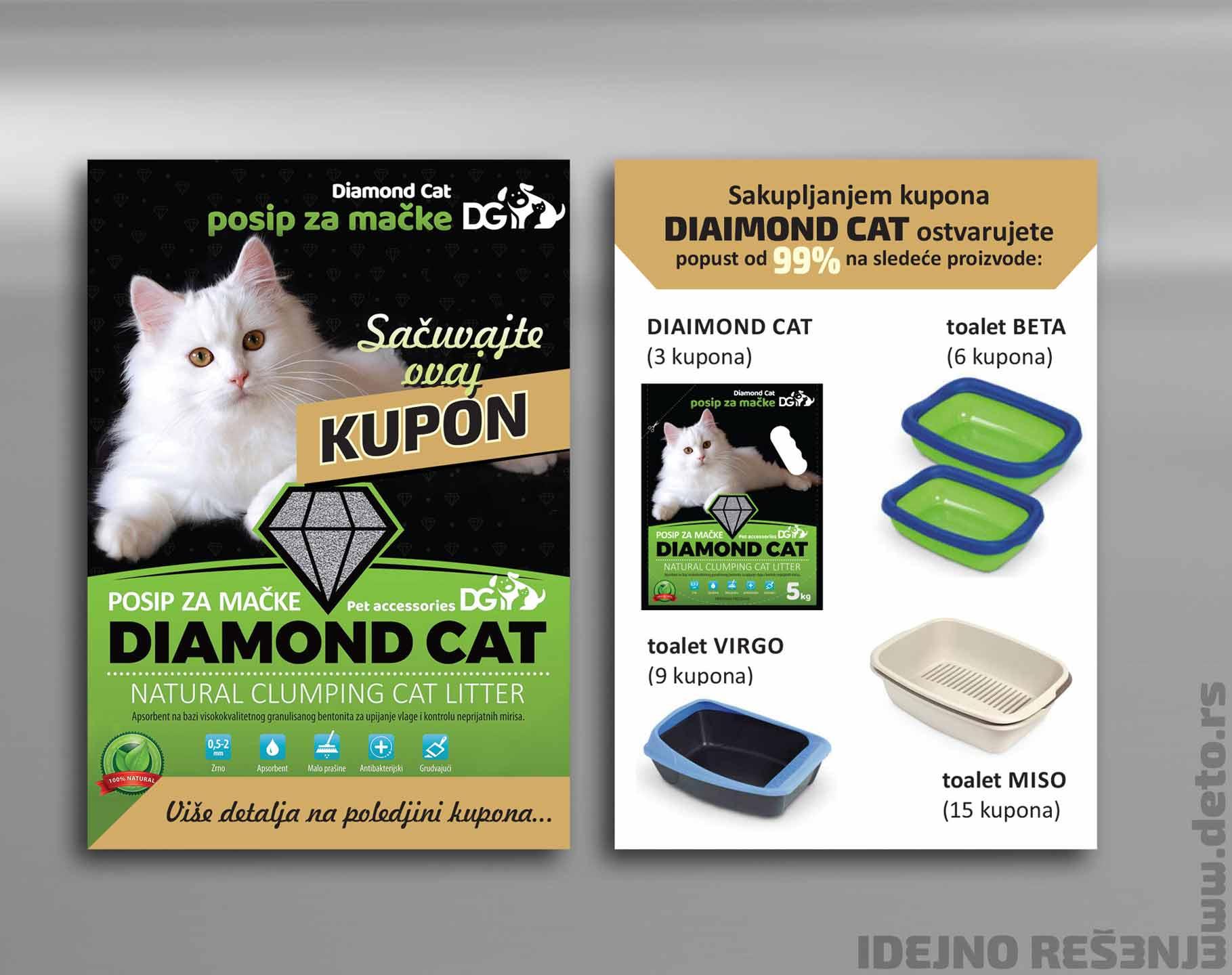 Dizajn -   Idejno rešenje, kupon, poklon uz hranu za mačke / Diamond Cat (Dinapet)